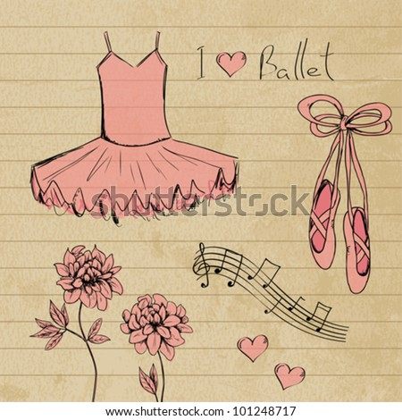 Ballet set doodles - stock vector