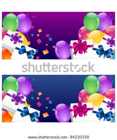Balloon banners - stock vector