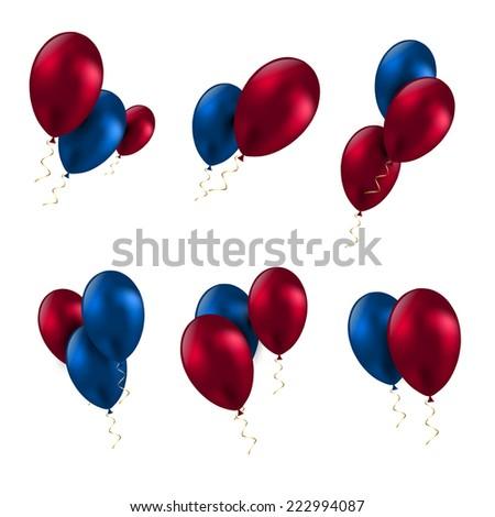 balloon birthday decoration celebrate party set vector - stock vector
