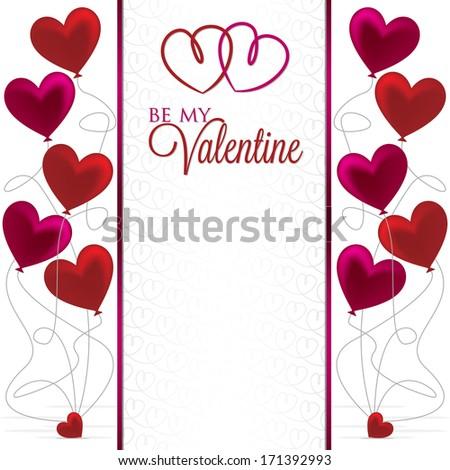 Balloon bunch Valentine card in vector format. - stock vector