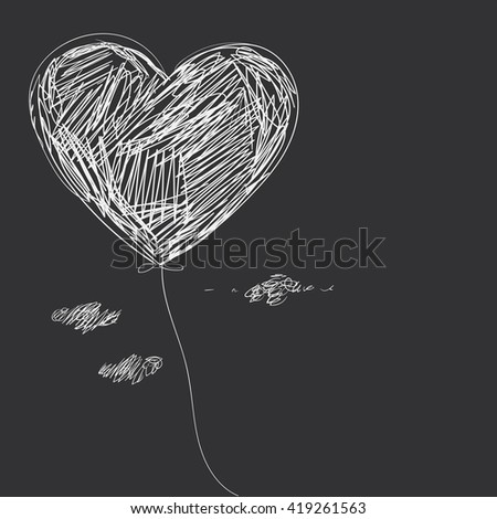 Balloon - heart. Hand drawing. - stock vector