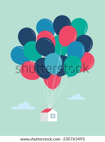 balloon house vector/illustration - stock vector
