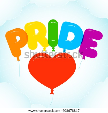 Balloon Lettering for Pride Month.  Rounded, semi-transparent, bubble letters on a blue sky background with clouds. Vector illustration in LGBT colors. Gay culture symbol, rainbow text. Gay pride. - stock vector