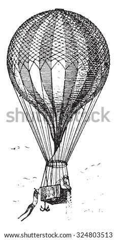 Balloon, vintage engraved illustration. Dictionary of words and things - Larive and Fleury - 1895. - stock vector