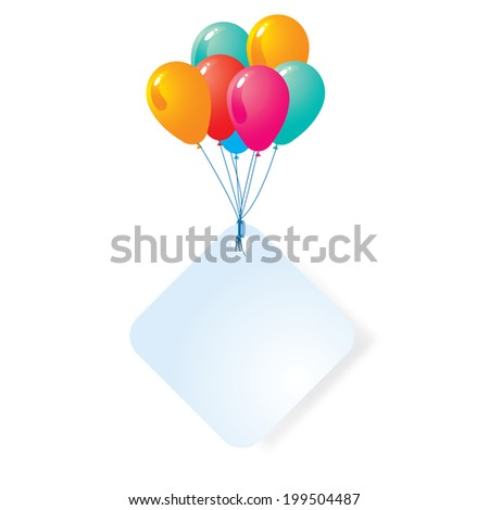 balloon with blank card  - stock vector