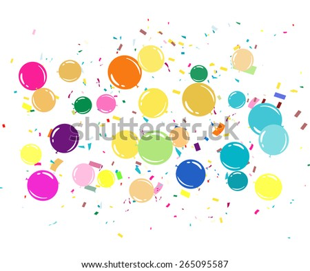 Balloons background with confetti, colorful. Vector illustration, eps10 - stock vector