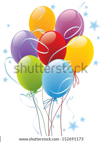 Balloons decoration ready for posters and cards  - stock vector
