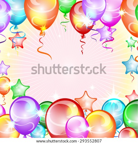balloons, festive background with place for text, vector illustration - stock vector