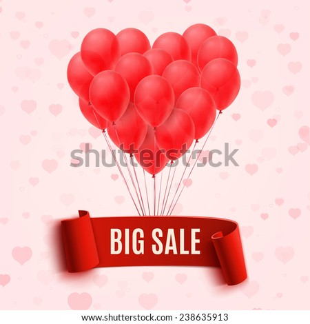 Balloons in form of heart holding big sale red banner. Vector illustration - stock vector
