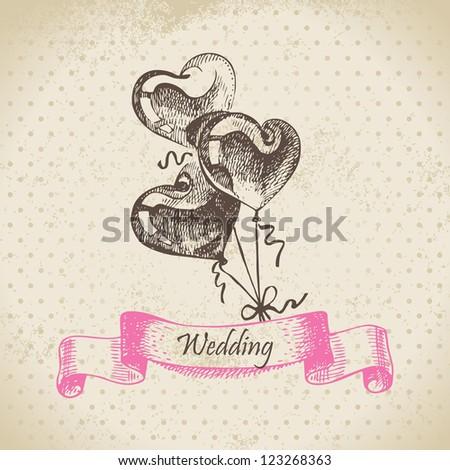Balloons in heart form. Hand drawn illustration - stock vector