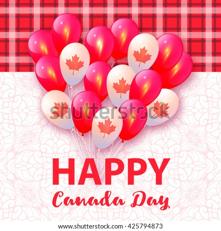 Balloons in National Colors of the Canada. Vector card for Canada Day - stock vector