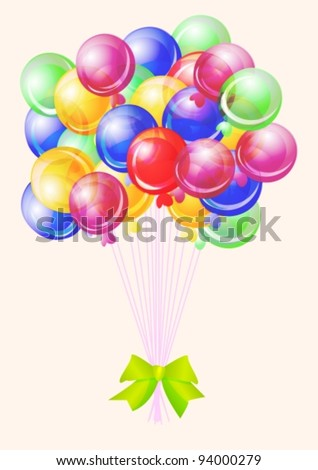 Balloons party happy birthday decoration multicolored translucent,vector  illustration - stock vector