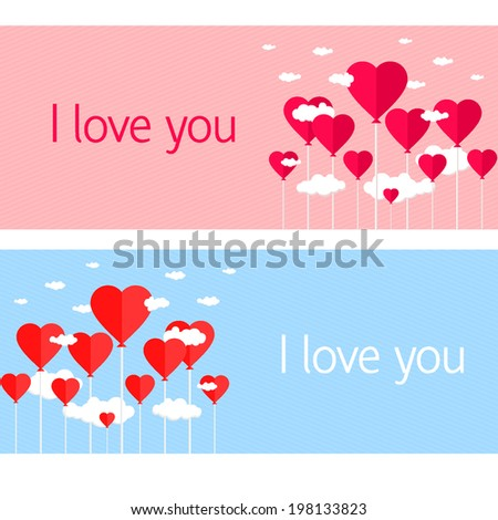 Balloons with heart shaped clouds on blue/pink striped background. vector illustration - stock vector
