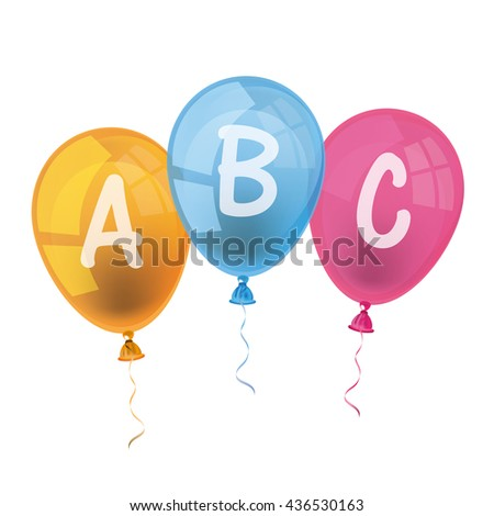 Balloons with letters ABC on the white. Eps 10 vector file. - stock vector