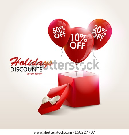Balloons With Sale Discounts and with box. Holidays SALE concept background. - stock vector