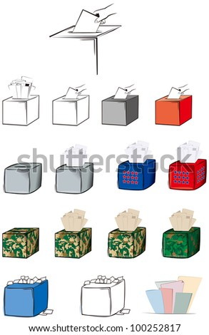 Ballot box in variety of styles, the camouflage one is for martial law or elections or referendum under military rule and overflowing box are for rigging and ill practices in elections. - stock vector