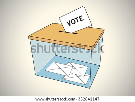 Ballot box with some votes in envelopes - stock vector