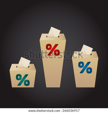 Ballot Boxes for an election. Percent Boxes on the black background - stock vector
