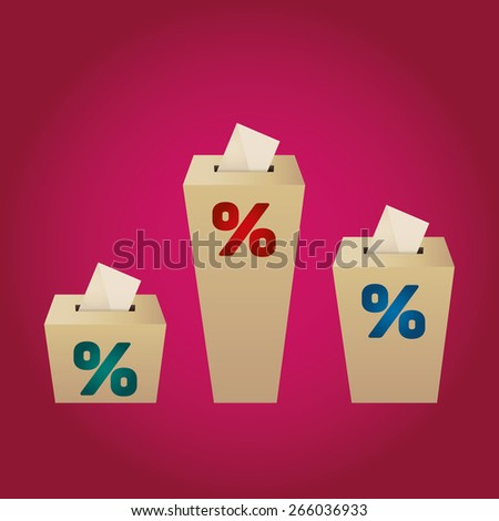 Ballot Boxes for an election. Percent Boxes on the magenta background - stock vector