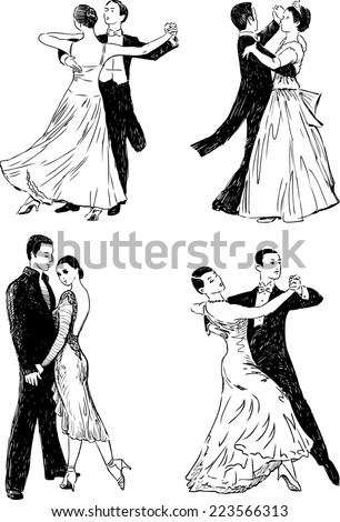 ballroom dances - stock vector