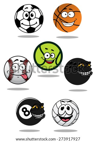 Balls cartoon characters with soccer, football, baseball, bowling, tennis, basketball, volleyball and billiards balls with shadows suitable for sport team mascot design - stock vector