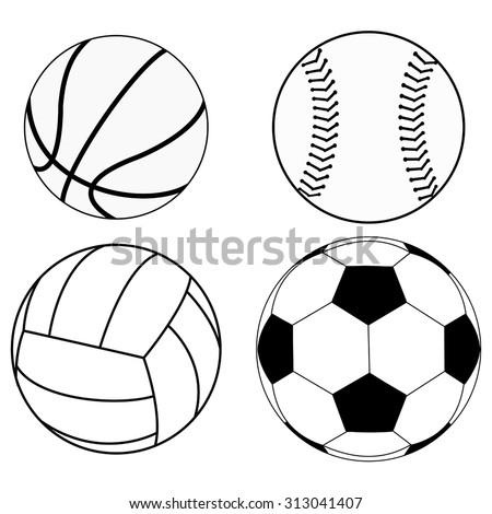 Balls set: Basketball ball, Baseball ball, Volleyball, Soccer ball. Vector drawing isolated on white background - stock vector