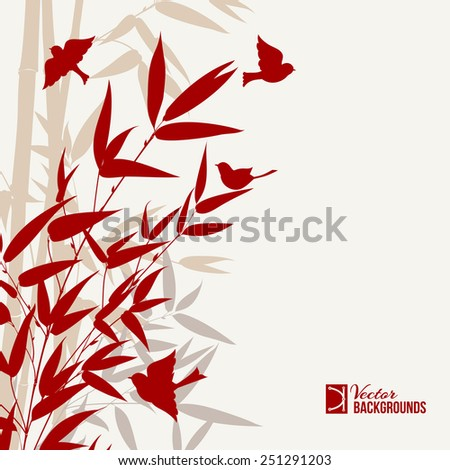 Bamboo art with bords in red over gray background. Vector illustration. - stock vector