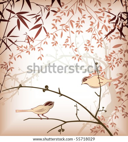 Bamboo Leaf and Bird 3 - stock vector
