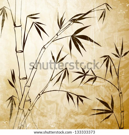 Bamboo Painting. Vector illustration, contains transparencies, gradients and effects. - stock vector