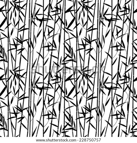 Bamboo seamless pattern design in black and white - stock vector