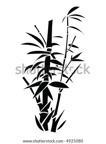 Bamboo shoots and leaves - stock vector