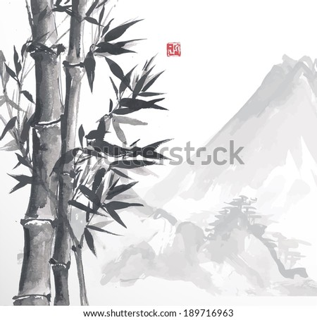 Bamboo trees and high mountains, hand-drawn with ink in traditional Japanese style sumi-e. Sealed with decorative red stamp. Vector illustration.  - stock vector