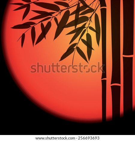 Bamboo trees and leaves with red sun on black background. Vector illustration. - stock vector