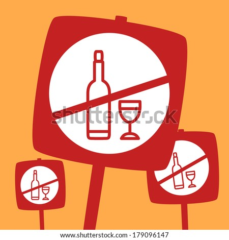 ban bottle and glass. Prohibition of bottle and glass - stock vector