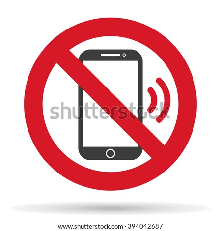 ban phone,  no mobile cell phone, warning sign ban phone, icon ban mobile phone vector illustration - stock vector