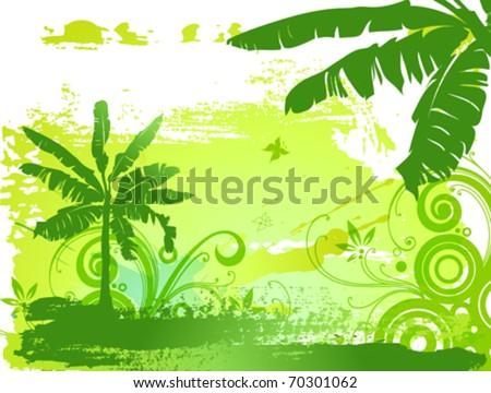 Banana palms, flowers, butterflies - stock vector