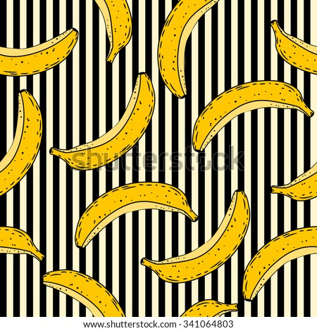 Banana seamless pattern. Vector background - stock vector