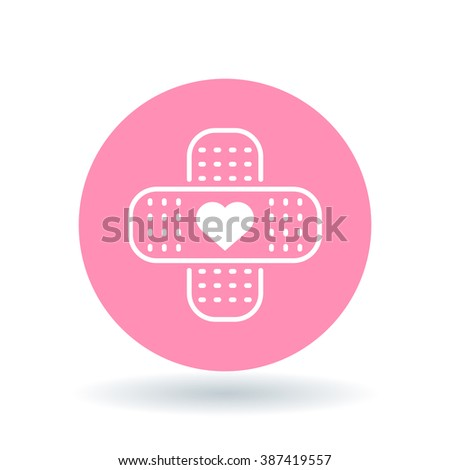 Band aid plaster heart icon. Bandage plaster love sign. Band aid plaster symbol. White plaster heart icon on pink circle background. Vector illustration. - stock vector