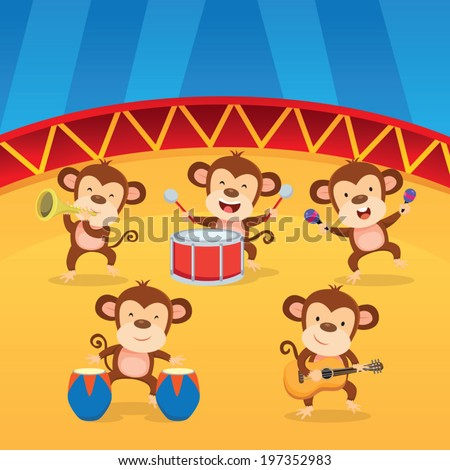 Band of musicians. Band of cute monkeys playing musical instruments. - stock vector