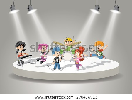 Band with cartoon children playing rock'n'roll on stage - stock vector