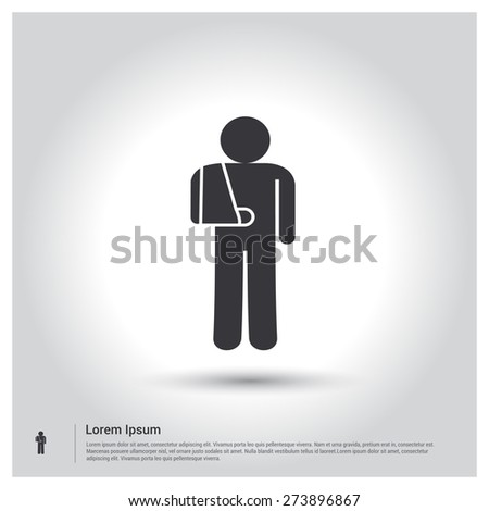 bandage patient icon, pictogram icon on gray background. Vector illustration. Flat design style - stock vector