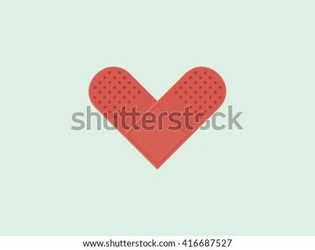 Bandage plaster, Heart shape - stock vector
