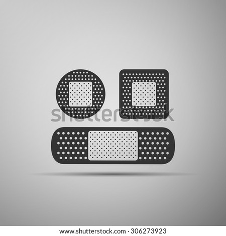 Bandage plaster icon on gray background. Vector illustration. - stock vector