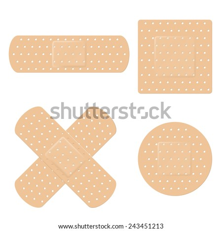 Bandage Vector Set. Vector illustration of long, round, square and crossed adhesive bandage strips - stock vector