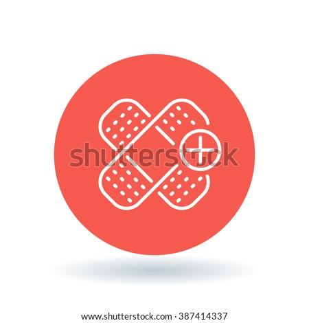 Bandaid icon. Bandage sign. plaster symbol. White Bandaid icon on red circle background. Vector illustration. - stock vector