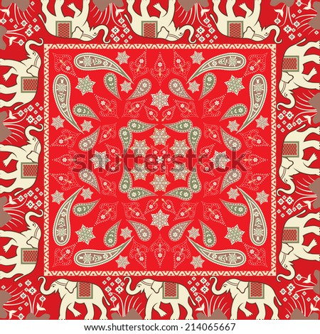 Bandana With Elephant Motif - stock vector