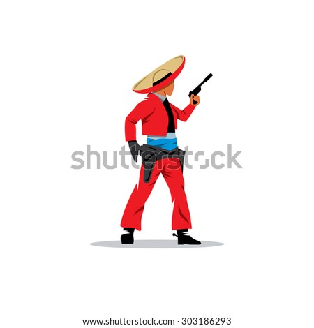 Bandit Mexican sign. Man in sombrero and a revolver. Vector Illustration. Branding Identity Corporate logo design template Isolated on a white background - stock vector