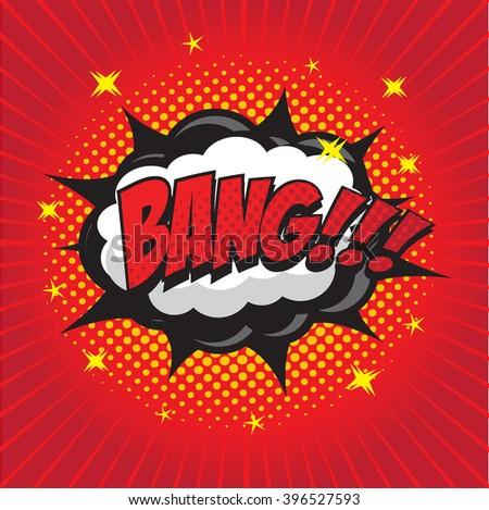BANG! wording sound effect set design for comic background, comic strip - stock vector