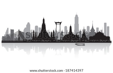 Bangkok Thailand city skyline vector silhouette illustration - stock vector