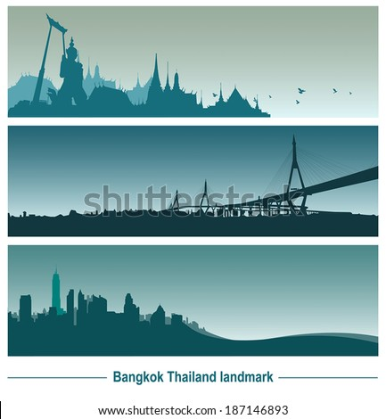Bangkok Thailand landmark, vector Illustration. - stock vector